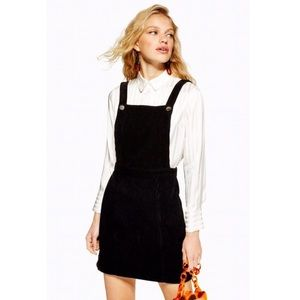 Topshop Button Corduroy Pinafore Dress Overall